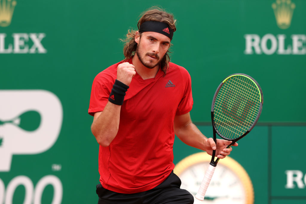 MONTE-CARLO, MONACO - APRIL 17: Stefanos Tsitsipas of Greece celebrates victory in the semi-final match against Dan Evans of Great Britain on day seven of the Rolex Monte-Carlo Masters at Monte-Carlo Country Club on April 17, 2021 in Monte-Carlo, Monaco. Sporting stadiums around Monaco remain under strict restrictions due to the Coronavirus Pandemic as Government social distancing laws prohibit fans inside venues resulting in games being played behind closed doors. (Photo by Alexander Hassenstein/Getty Images)