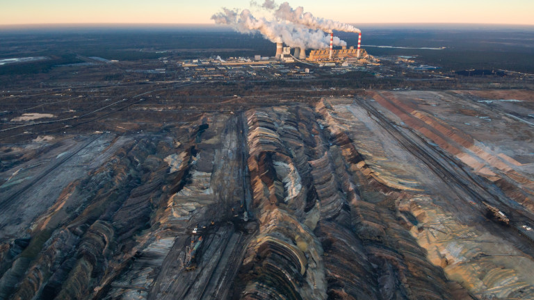 Aerial view of open-cast coal mine Belchatow, Poland