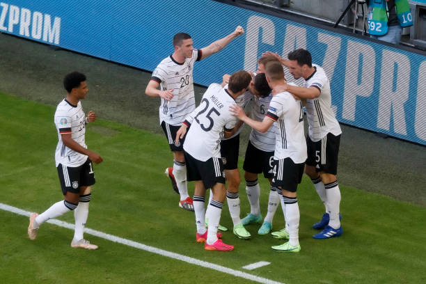 MUNICH, GERMANY - JUNE 19: (BILD ZEITUNG OUT) . player's of Germany celebrates after the own goal of Raphael Guerreiro of Portugal during the UEFA Euro 2020 Championship Group F match between Portugal and Germany at Football Arena Munich on June 19, 2021 in Munich, Germany. (Photo by Harry Langer/DeFodi Images via Getty Images)