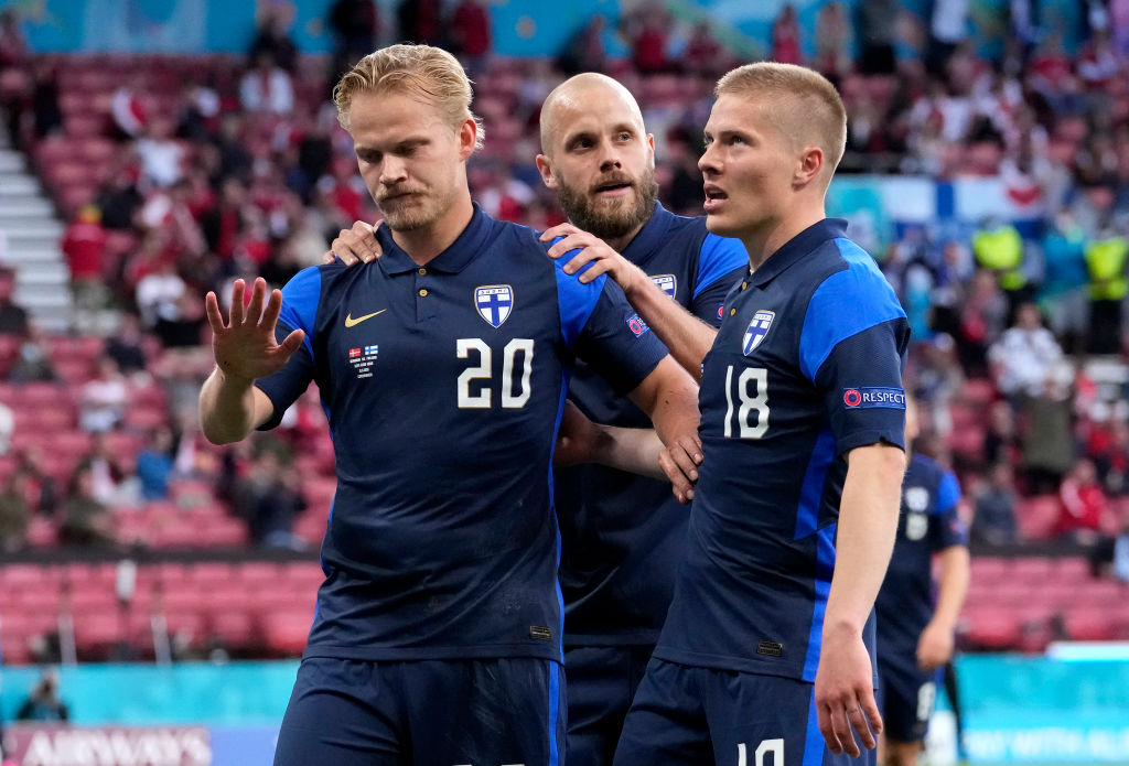COPENHAGEN, DENMARK - JUNE 12: Joel Pohjanpalo of Finland celebrates after scoring their side's first goal during the UEFA Euro 2020 Championship Group B match between Denmark and Finland on June 12, 2021 in Copenhagen, Denmark. (Photo by Martin Meissner - Pool/Getty Images)
