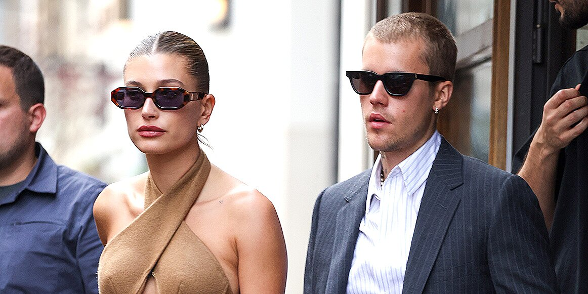 PARIS, FRANCE - JUNE 21: Hailey Bieber and Justin Bieber are seen coming out of a restaurant on June 21, 2021 in Paris, France. (Photo by Pierre Suu/GC Images)