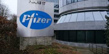 Brussels, Belgium. 21st December 2020. Exterior view of Pfizer Pharmaceutical company's offices.