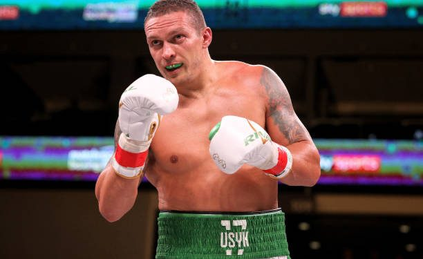 CHICAGO, ILLINOIS - OCTOBER 12:  Oleksandr Usyk of Ukraine looks on in the sixth round of his Heavyweight bout against Chazz Witherspoon at Wintrust Arena on October 12, 2019 in Chicago, Illinois. (Photo by Dylan Buell/Getty Images)